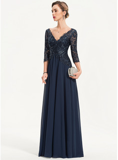 V-neck Floor-Length Chiffon Evening Dress With Sequins