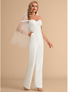 Off-the-Shoulder Floor-Length Stretch Crepe Wedding Dress With Pockets