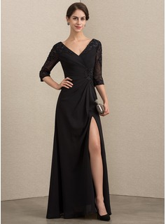 V-neck Floor-Length Chiffon Lace Evening Dress With Beading Sequins Split Front