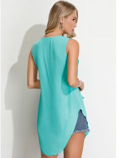Sleeveless Chiffon V Neck Tank Tops Blouses
