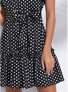 Polyester With Button/PolkaDot Above Knee Dress