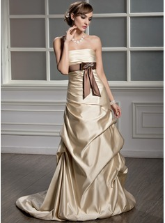 A-Line/Princess Strapless Court Train Satin Wedding Dress With Ruffle Sash Beading Bow(s)
