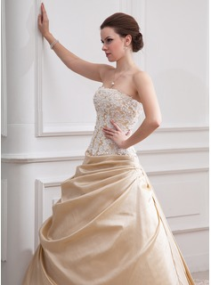 A-Line/Princess Strapless Cathedral Train Taffeta Tulle Wedding Dress With Ruffle Beading