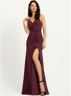 Sheath/Column V-neck Floor-Length Bridesmaid Dress With Ruffle Split Front