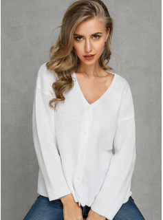 Solid Polyester V-neck Cardigans Sweaters