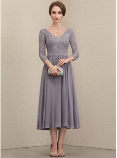 V-neck Tea-Length Chiffon Lace Cocktail Dress With Beading Sequins