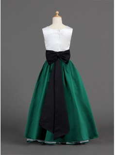A-Line/Princess Floor-length Flower Girl Dress - Satin Sleeveless Square Neckline With Ruffles/Sash/Bow(s)