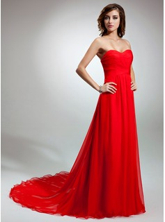 A-Line/Princess Sweetheart Court Train Chiffon Evening Dress With Ruffle