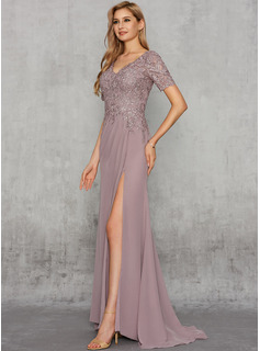 Sheath/Column V-neck Sweep Train Chiffon Evening Dress With Lace Sequins Split Front