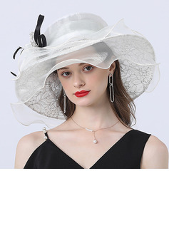 Ladies' Gorgeous/Classic/Elegant/Unique/Exquisite Organza/Tulle With Tulle Floppy Hats/Beach/Sun Hats