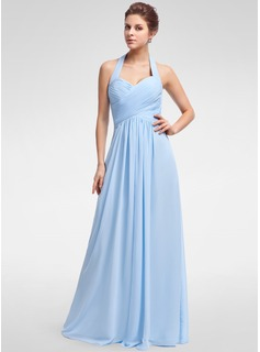 A-Line/Princess Halter Floor-Length Chiffon Bridesmaid Dress With Ruffle