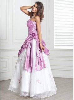 Ball-Gown Strapless Floor-Length Taffeta Organza Quinceanera Dress With Beading Flower(s) Cascading Ruffles