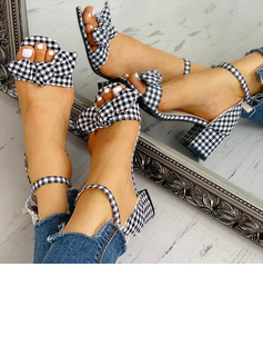 Women's Cloth Chunky Heel Pumps Peep Toe With Buckle shoes