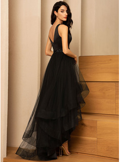 A-Line V-neck Asymmetrical Tulle Bridesmaid Dress With Beading
