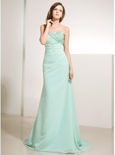 A-Line/Princess Sweetheart Sweep Train Chiffon Holiday Dress With Ruffle Lace Beading Sequins