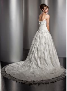 Ball-Gown Chapel Train Lace Wedding Dress With Ruffle Beading
