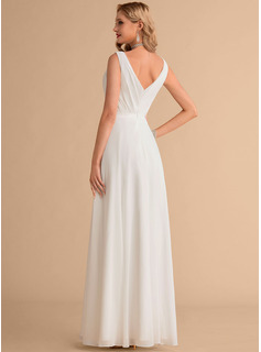 V-neck Floor-Length Chiffon Wedding Dress With Ruffle