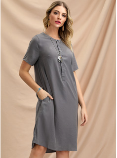Polyester With Button/Resin solid color Knee Length Dress