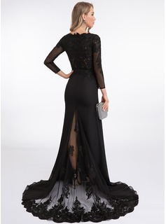 Trumpet/Mermaid V-neck Sweep Train Chiffon Evening Dress With Beading