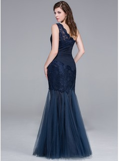 Trumpet/Mermaid One-Shoulder Floor-Length Tulle Lace Evening Dress