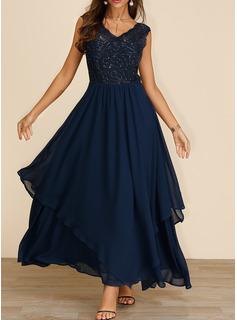 Lace Sequins Solid A-line V-Neck Sleeveless Maxi Elegant Party Skater Dresses