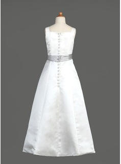 A-Line/Princess Floor-length Flower Girl Dress - Satin Sleeveless Square Neckline With Sash