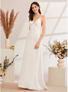A-Line V-neck Sweep Train Wedding Dress With Beading Split Front