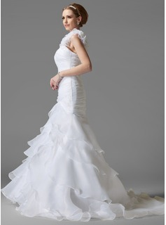 Trumpet/Mermaid One-Shoulder Chapel Train Satin Organza Wedding Dress With Beading Flower(s) Cascading Ruffles