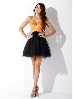 Empire Sweetheart Short/Mini Satin Tulle Homecoming Dress With Ruffle Beading Sequins