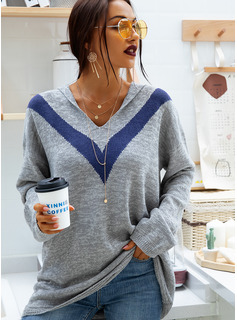 Striped Acrylic Polyester Hooded Pullovers Sweaters