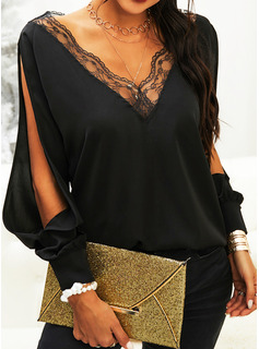 Regular Lace Solid Casual Long Sleeves