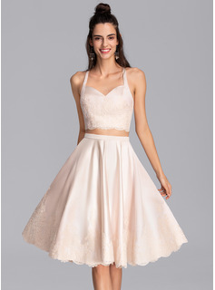 A-Line Sweetheart Knee-Length Satin Homecoming Dress