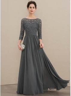 Scoop Neck Floor-Length Chiffon Lace Mother of the Bride Dress With Ruffle Beading Sequins