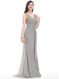 V-neck Sweep Train Chiffon Prom Dresses