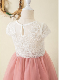 Ball-Gown/Princess Ankle-length Flower Girl Dress - Tulle/Lace Short Sleeves Scoop Neck