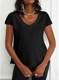 Regular Fitted Lace Solid Casual Short Sleeves