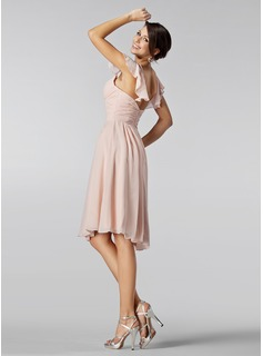 A-Line/Princess Sweetheart Knee-Length Chiffon Bridesmaid Dress With Beading Cascading Ruffles