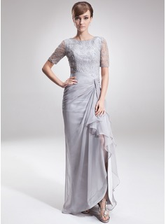 A Line Princess Scoop Neck Asymmetrical Chiffon Lace Mother Of The Bride Dress With