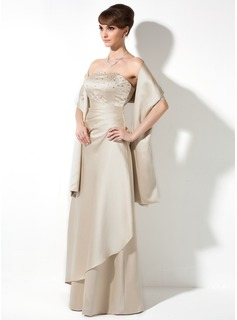 A-Line/Princess Strapless Floor-Length Satin Bridesmaid Dress With Ruffle Beading Sequins