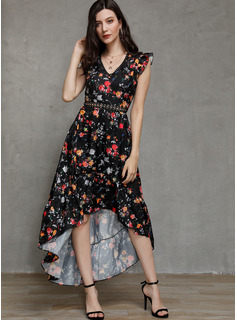 Polyester With Lace/Print/Slit Asymmetrical Dress