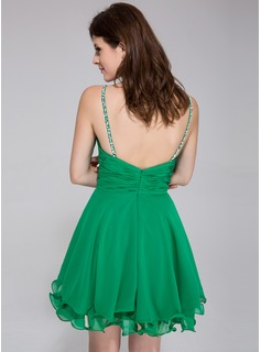 A-Line/Princess Sweetheart Short/Mini Chiffon Holiday Dress With Ruffle Beading Sequins