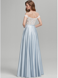 A-Line Off-the-Shoulder Floor-Length Satin Wedding Dress With Beading Sequins Split Front Pockets