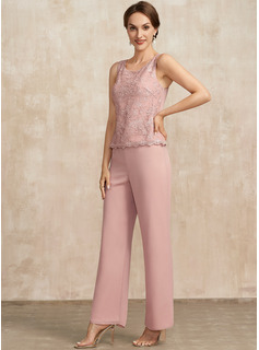 Jumpsuit/Pantsuit Scoop Neck Ankle-Length Chiffon Lace Mother of the Bride Dress
