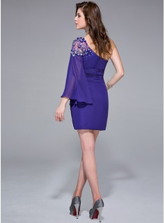 Sheath/Column One-Shoulder Short/Mini Chiffon Cocktail Dress With Beading