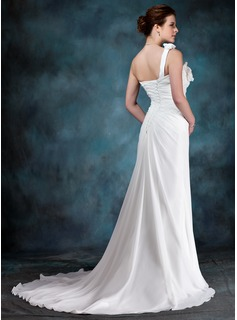 A-Line/Princess Sweetheart One-Shoulder Court Train Chiffon Wedding Dress With Flower(s) Cascading Ruffles