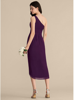 Sheath/Column One-Shoulder Asymmetrical Chiffon Bridesmaid Dress With Ruffle