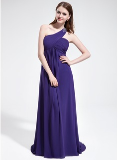 Empire One-Shoulder Sweep Train Chiffon Bridesmaid Dress With Ruffle Beading