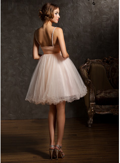 Empire Sweetheart Knee-Length Tulle Prom Dresses With Beading Sequins