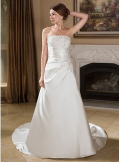 A-Line/Princess Strapless Chapel Train Satin Wedding Dress With Ruffle Lace Beading