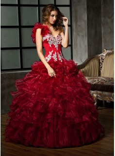 Ball-Gown One-Shoulder Floor-Length Organza Quinceanera Dress With Beading Appliques Lace Sequins Cascading Ruffles